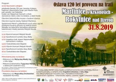 Železniční lokálka Martinice - Rokytnice oslaví 120 let