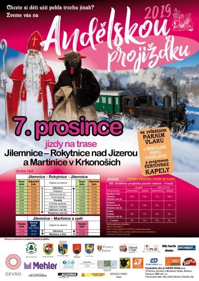 Andělský parní vlak opět potěší děti na trase z Jilemnice do Rokytnice