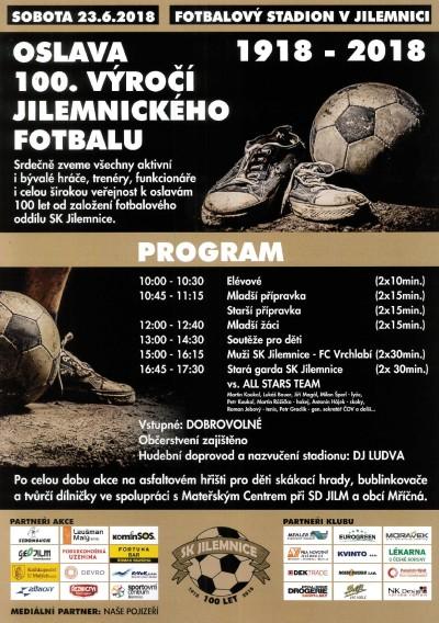 SK Jilemnice zve na oslavu 100 let místního fotbalu