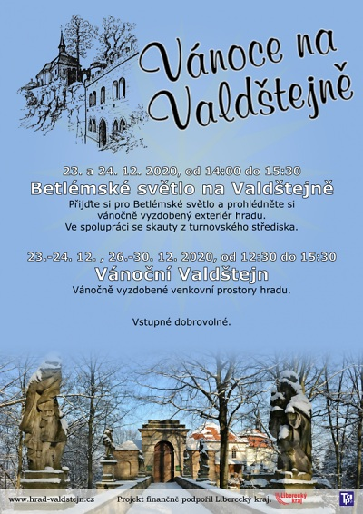Hrad Valdštejn nabízí vyzdobené venkovní prostory i Betlémské světlo