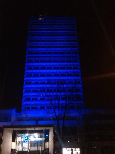Budova kraje se opět zahalí do modré barvy