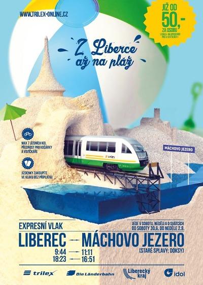 Vlakem k Máchovu jezeru můžete jet o prázdninách z Liberce i letos