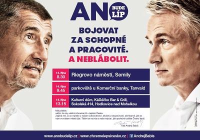 Andrej Babiš navštíví vsobotu Semily, Tanvald i Hodkovice