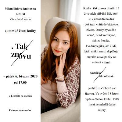 Mladá spisovatelka Gabriela Jakoubková má autorské čtení v Libštátě