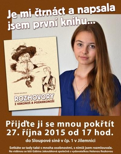 Čtrnáctiletá Gabriela Jakoubková z Víchové si plní sen knihou rozhovorů