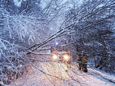 V noci znovu přisněžilo, hasiči dál vyprošťují auta a odstraňují stromy