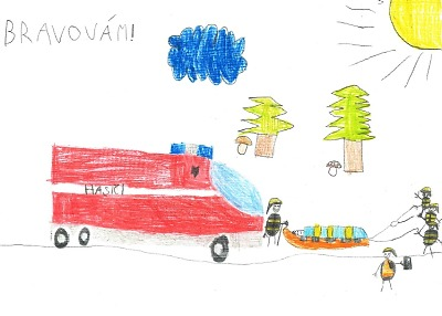 Děti, které viděly záchranu na Riegrově stezce, poděkovaly hasičům