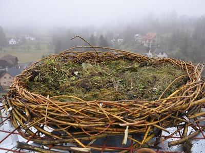 V Roztokách u Jilemnice vytvořili novou podložku pro hnízdění čápů