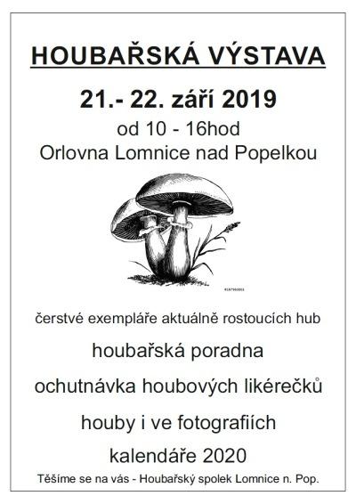Pozvánka na výstavu hub v Lomnici nad Popelkou