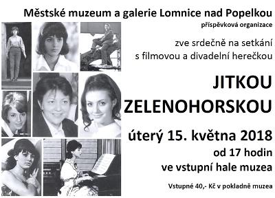 Herečka Jitka Zelenohorská přijede na besedu do lomnického muzea