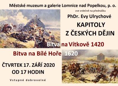 Eva Ulrychová bude v Lomnici povídat o Bitvách na Vítkově a Bílé hoře