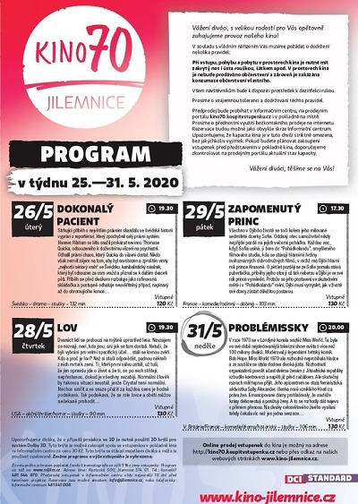 Program jilemnického kina od 25. do 31. května