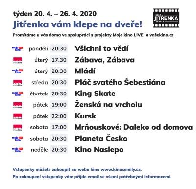 Online promítání pokračuje v Kině Jitřenka i v týdnu 20. až 26. dubna