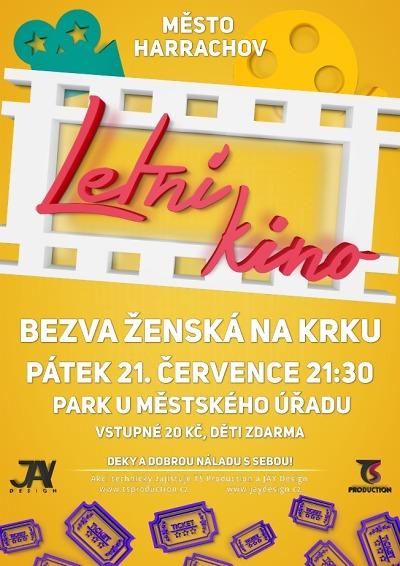 Letní kino v Harrachově promítá film Bezva ženská na krku