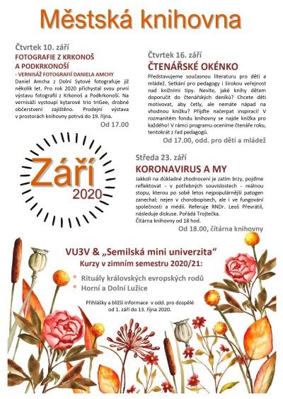Program semilské knihovny v září 2020