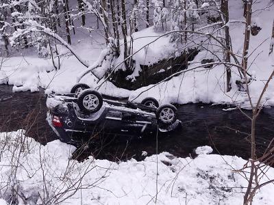 Hasiči po novém sněhu řešili nehody, ve Vítkovicích sjelo auto do řeky