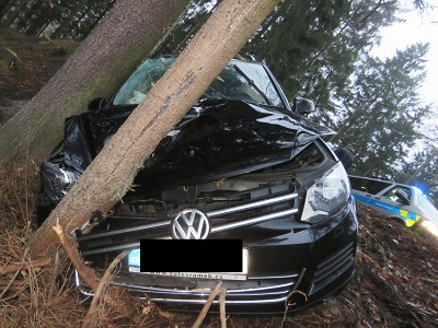 Mezi Zlatou Olešnicí a Sklenařicemi jel řidič rychle až narazil do stromu