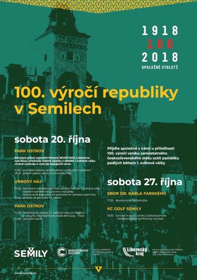 Město Semily zve na oslavy 100. výročí vzniku republiky