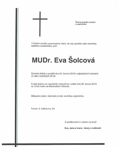 Zemřela MUDr. Eva Šolcová - dlouholetá turnovská zastupitelka