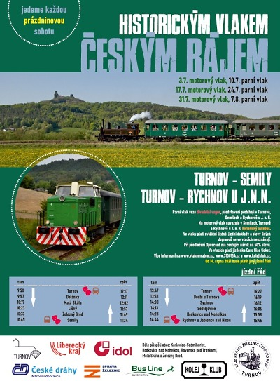 Historické vlaky zajíždí o prázdninách tentokrát i do Rychnova