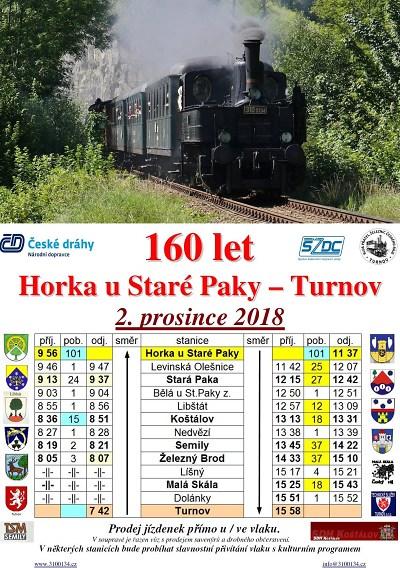 Železniční trať Horka u Staré Paky – Turnov slaví 160 let