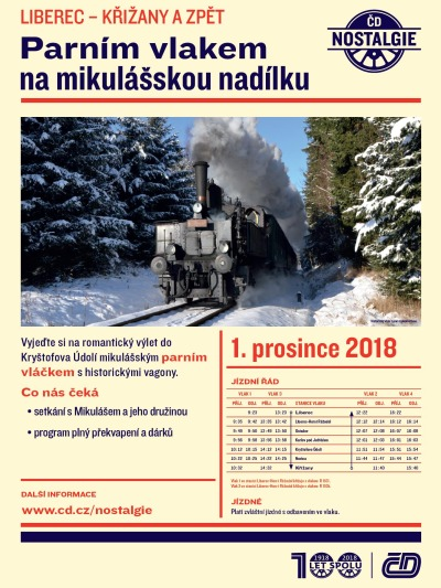 Parním vlakem na mikulášskou nadílku z Liberce do Křižan a zpět