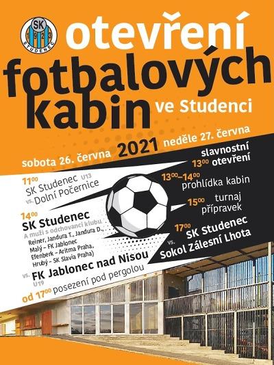 Nové fotbalové kabiny ve Studenci slavnostně představí veřejnosti