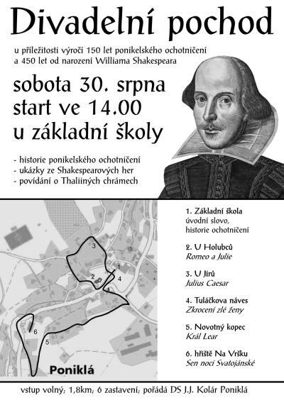 Divadelním pochodem v Poniklé provedou postavy Shakespearových her