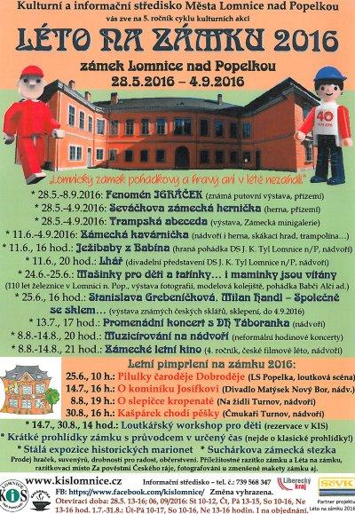 Léto na zámku v Lomnici 2016 přináší akce dětem i dospělým