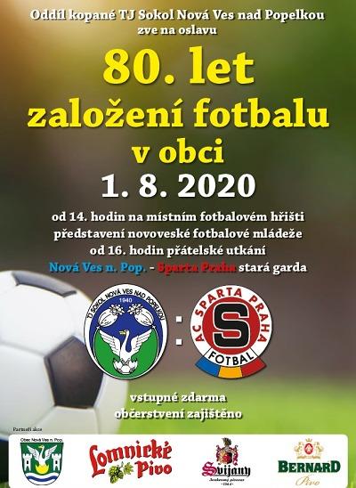 V Nové Vsi oslaví 80 let fotbalu zápasem proti staré gardě Sparty