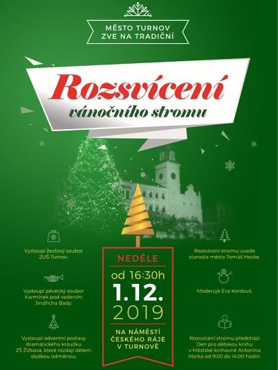 Pozvánka na rozsvícení vánočního stromečku v Turnově