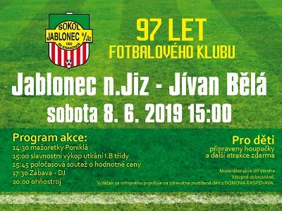 V Jablonci nad Jizerou oslaví při utkání s Bělou 97 let klubu