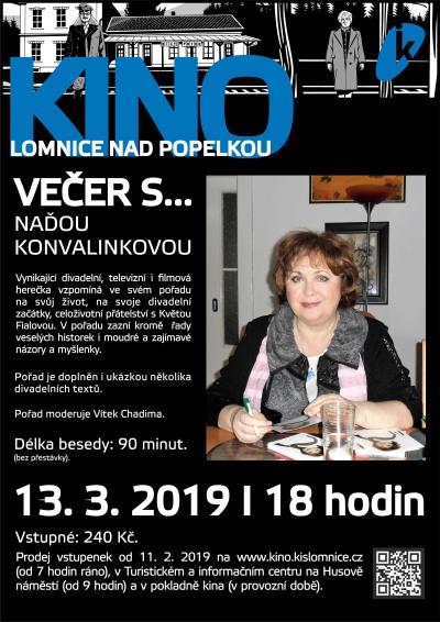 Večer s Naďou Konvalinkovou si užijí diváci v lomnickém kině