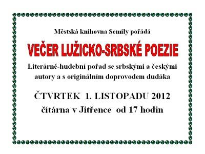 Večer Lužicko-Srbské poezie doprovodí v knihovně i dudácké vystoupení