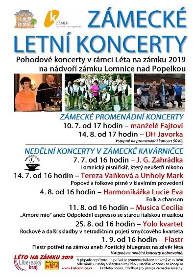 Program zámeckých letních koncertů v Lomnici