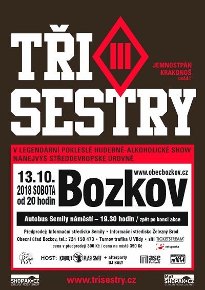 Na tradiční podzimní koncert do Bozkova přijede kapela Tři sestry