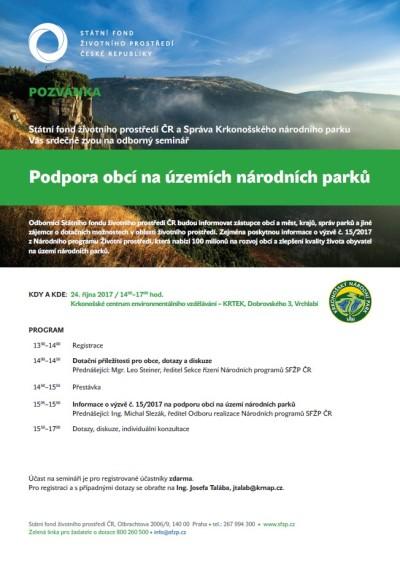 Správa KRNAP pořádá seminář na podporu obcí na území parku