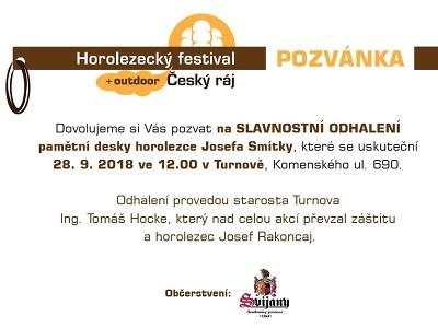 V rámci horolezeckého festivalu odhalí desku Josefa Smítky