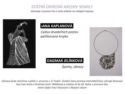 Ve státním archivu představí tvorbu Jany Kaplanové a Dagmar Jelínkové