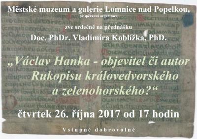 Pozvánka na lomnickou přednášku o Václavu Hankovi a Rukopisech