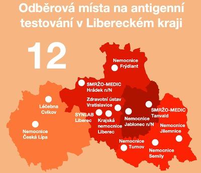 Antigenních center funguje v Libereckém kraji už dvanáct