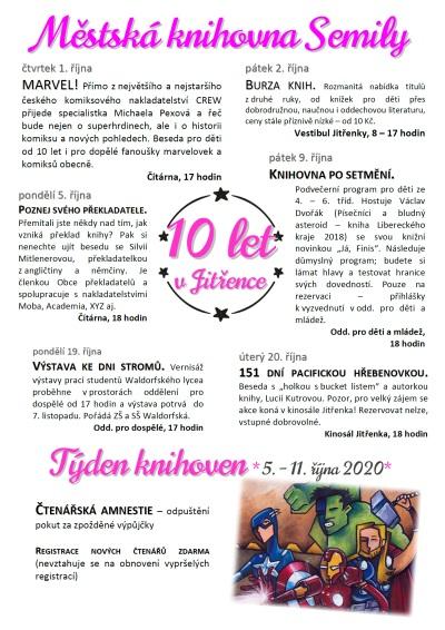 Městská knihovna Semily slaví v říjnu deset let v Jitřence!