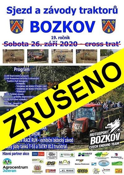 Sjezd traktorů v Bozkově je pro rok 2020 zrušen!