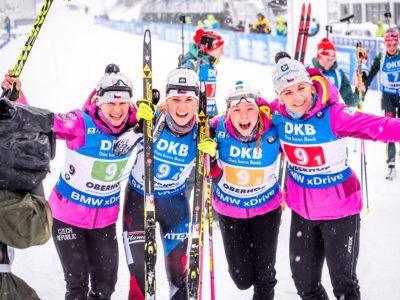 Ve štafetě v Oberhofu dojely biatlonistky třetí