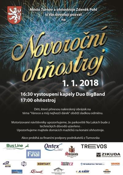 Nový rok v Turnově už tradičně odstartují ohňostrojem Na Lukách