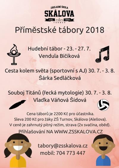 ZŠ Skálova Turnov nabízí letní příměstské tábory