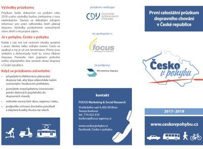 V České republice probíhá celostátní průzkum dopravního chování