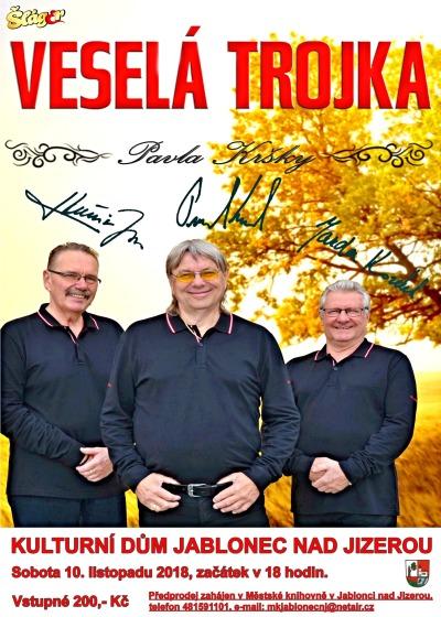 Veselá trojka přijede zahrát do Jablonečku