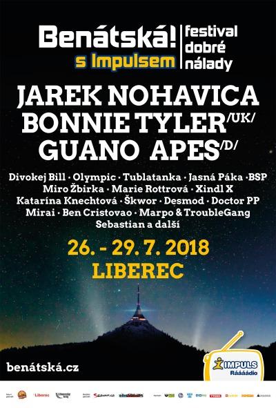 Benátská 2018 přivítá Jarka Nohavicu, Bonnie Tyler i Guano Apes