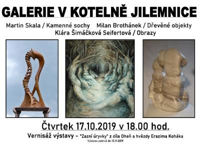 Galerie V kotelně Jilemnice zahájí výstavu tří autorů